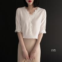 花边v领雪纺衫上衣蕾丝打底衫2019新款女装短袖夏季时尚洋气小衫