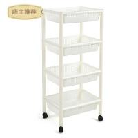 厨房收纳架大号塑料浴室置物架洗手间滑轮方形落地蔬菜水果储物架SN7725 方形白色4层