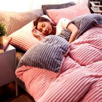 网红床单四件套冬季珊瑚绒双面绒床上三件套牛奶绒法兰绒被套床笠