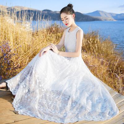 欧美女装2019夏季新款女装白色复古裙子仙蕾丝连衣裙长裙海边度假沙滩裙 白色 XZ17C786