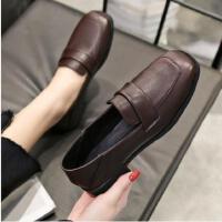 百搭潮款粗跟高跟鞋女英伦风复古方头休闲韩版女士皮鞋一脚蹬单鞋