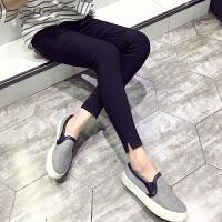 女士打底裤外穿2夏季薄款高腰显瘦韩版黑色九分小脚裤铅笔裤子 黑色九分裤