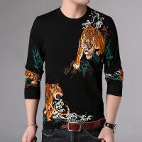 男士印花毛线衣薄款 中国风春秋个性动物老虎鱼图案印花潮