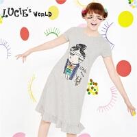 安莉芳旗下LUCIE女童发育期舒适棉趣味印花睡裙家居服裙装NL0413