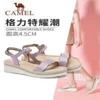 骆驼2019夏季新款复古时尚休闲韩版百搭防水台坡跟凉鞋格力特鞋子