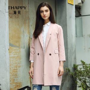 海贝秋装新款纯色两粒扣简约中长款西装外套