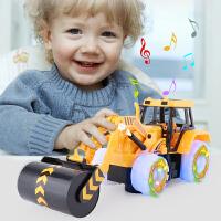 男孩闪光音乐玩具车电动万向工程车挖土机模型儿童电动挖掘机玩具