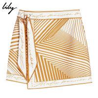 【2件4折到手价:199.6元】 Lily20夏新款女装不对称桔色绑带小A裙短裙半身裙119230C6162
