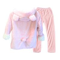 冬季睡衣女冬珊瑚绒韩版清新学生甜美可爱卡通加厚保暖超厚家居服 粉红色 收藏加购送限量袜