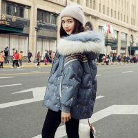 毛领羽绒服女学生韩版宽松短款冬季连帽时尚小个子 雾霾蓝