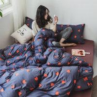 网红款针织棉四件套印花裸睡天竺套件床单笠款三件套床上用品