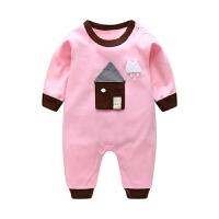 婴儿连体衣秋棉长袖薄款可爱女宝宝公主0-6-12个月哈衣秋装