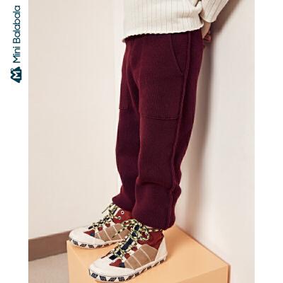 【冬新品每满299减100元】迷你巴拉巴拉童装男女童毛织长裤儿童全棉保暖裤子2019冬季新款