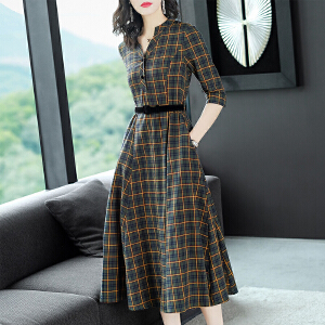 RANJU 然聚2018女装秋季新品新款复古英伦大摆长裙收腰通勤格子连衣裙