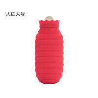 硅胶热水袋 趣味蜜罐硅胶热水袋注水暖水袋暖手袋冷热两用儿童加厚暖水宝加水可微波炉加热热敷暖肚子 大号红色