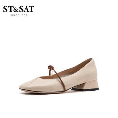 St&Sat/星期六2020春季新款浅口粗跟低跟玛丽珍单鞋女SS01111770