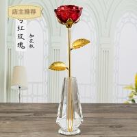 水晶玫瑰花送女友生日结婚周年纪念日礼品实用创意七夕情人节礼物SN0758 +花瓶