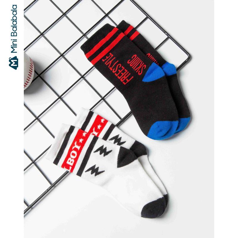 迷你巴拉巴拉儿童袜子男童袜2019冬新品短袜纯棉字母儿童袜子潮
