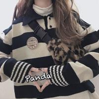 秋冬日系简约ins黑白POLO领毛衣女学生甜美学院风针织外套女 黑白条纹
