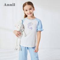 【活动价:133.25】安奈儿童装女童夏季套装2020新款小清新短袖七分裤家居服套装睡衣