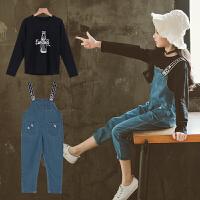 中大童儿童装女童秋装套装2018新款韩版洋气牛仔背带裤两件套潮衣