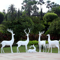园林景观装饰摆件户外花园小品婚庆美陈*玻璃钢动物麋鹿雕塑