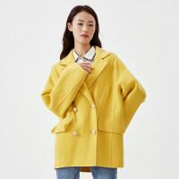 伊芙丽100%绵羊毛宽松短款双面呢大衣