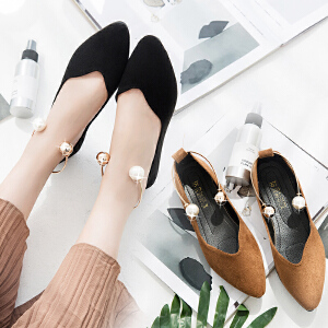 女式 OL时尚风绒面珍珠绕脚上班鞋性感平跟女单鞋