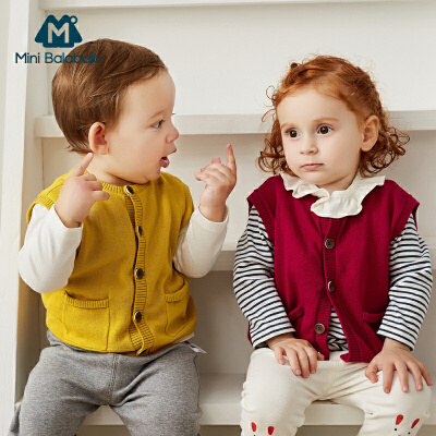 【1件6折】迷你巴拉巴拉婴儿针织马甲2019秋新款男女宝宝弹力坎肩趣味小背心