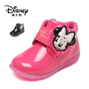 【达芙妮集团】迪士尼 童鞋女童鞋子秋冬女童短靴加绒保暖儿童靴