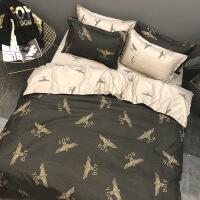 春夏季男女生潮流情侣床单四件套英伦风床品被套宿舍床上三件套