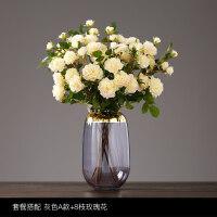 北欧轻奢金边玻璃花瓶 现代简约水培透明插花客厅餐桌装饰品摆件1 套餐1 A款灰+8枝玫瑰花