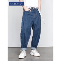 2.5折价:101;Lilbetter男士阔腿牛仔裤潮牌嘻哈街头老爹裤宽松百搭休闲长裤