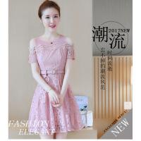 2019夏季新款女装韩版修身小清新蕾丝连衣裙短袖气质收腰显瘦裙子