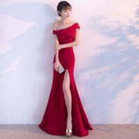 一字肩敬酒服新娘2018新款鱼尾长款红色结婚晚礼服女性感修身显瘦