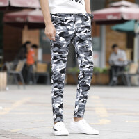 夏季薄款九分潮流男士青少年修身小脚收脚裤户外休闲裤迷彩运动裤