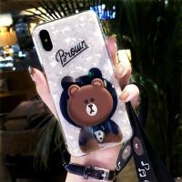 苹果X手机壳潮牌卡通小熊iphone7plus硅胶套抖音同款8支架6女挂绳