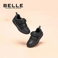 【3折价:221.7元】百丽童鞋男童英伦风皮鞋春季2021中大童鞋子软底休闲黑色单鞋