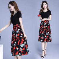 2019流行夏天裙子韩版中长款假两件中长款气质显瘦过膝印花连衣裙 3X