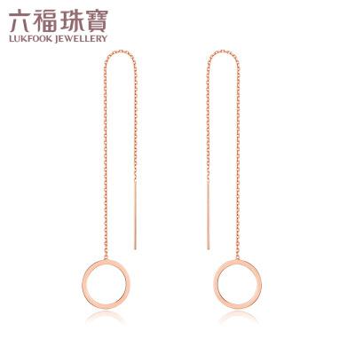 六福珠宝 18K金几何系列玫瑰金圆形耳线耳环耳坠耳饰 定价 L18TBKE0050R简约圆形设计 个性大胆 彰显型格力量