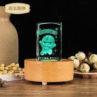 水晶球实木发光音乐盒底座蓝牙音箱创意3D水晶内雕生日礼品摆件SN3373