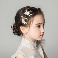 儿童发饰礼服配饰发钗陶瓷花粉色女孩表演舞台演出头饰发簪
