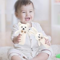 宝宝手抓布偶 0-1-6-12周岁新生儿陪睡毛绒玩具婴儿安抚BB棒益