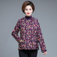 中老年女装棉袄女短款妈妈装女保暖外套秋冬季内胆花棉衣 2XL (建议体重95斤-110斤)