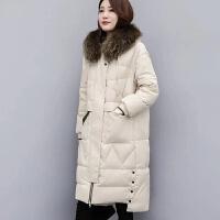 2019白鸭绒羽绒服女中长款外套加厚女装韩版宽松真貉子大毛领 米白色