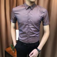 劲夏季免烫短袖白衬衫男修身韩版帅气休闲潮流商务丝光衬衣色寸衫