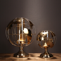 新古典地球仪烛台摆件工艺品家居装饰样板房客厅书房合金玻璃 TY2129-2130 一套 LB