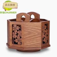 创意木质遥控器收纳盒子 桌面沙发田园欧式整理箱收纳座钩SN7363