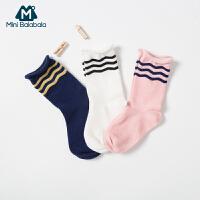 【每满299元减100元】迷你巴拉巴拉儿童袜子男童宝宝学院风2019年秋季新款女童条纹袜