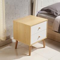 北欧床头柜简约现代储物柜原木白组装床边柜实木腿收纳柜整装